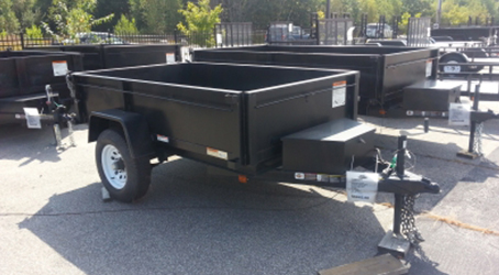 5x8 carry on dump trailer on our lot